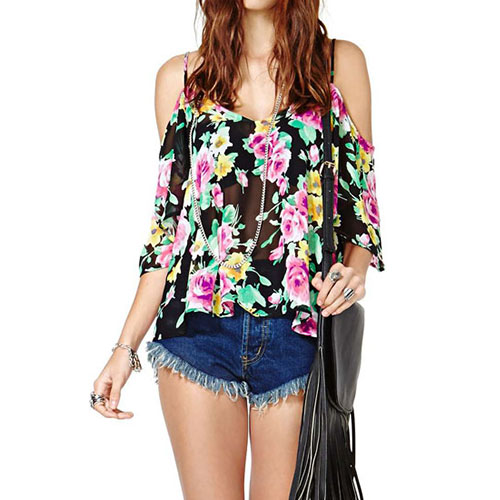 Floral Print Sheer Loose Backless Blouse Tank Top from amazingmall on Storenvy