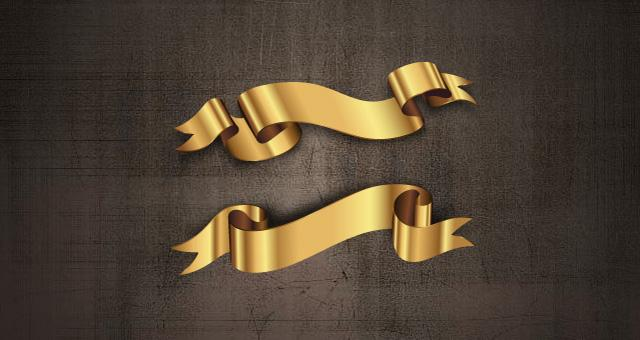 Golden Decorative Vector Ribbons Set | Decorative Vectors | Pixeden