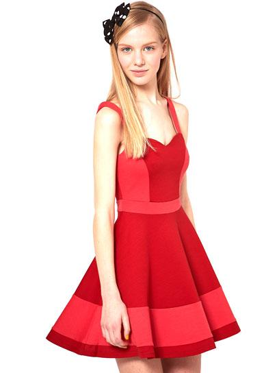 ASOS Skater Dress in Color Block: Jewel Tone Dresses for Prom: Style: teenvogue.com