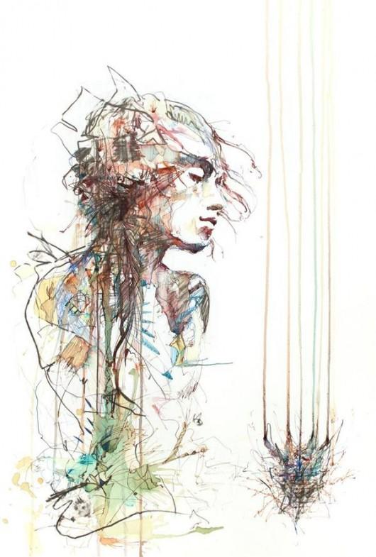 Piccsy :: Carne Griffiths Portraits in Ink and Tea