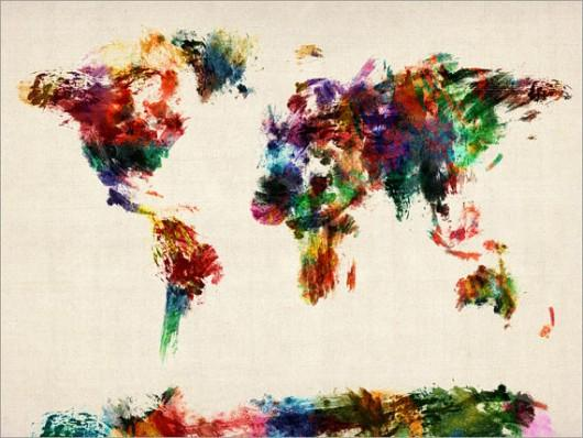 Piccsy :: Map of the World Map Abstract Painting, Art Print on Etsy