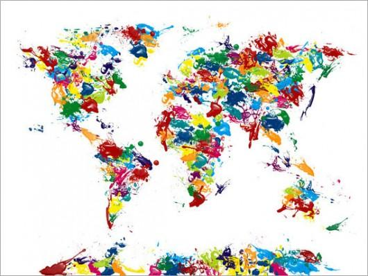 Piccsy :: Paint Drops Map of the World Map, Art Print on Etsy