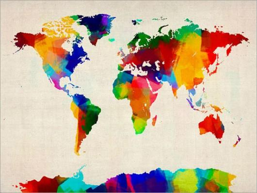 Piccsy :: Rolled Paint Map of the World Map, Art Print on Etsy