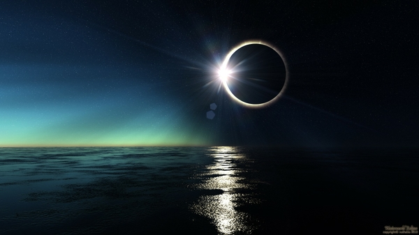 ocean moon eclipse digital art waterworld reflections sea Wallpaper