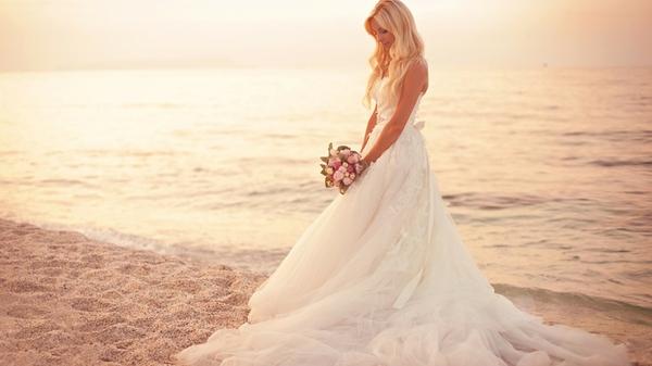 blondes women white models brides wedding dresses weddings sea beaches Wallpaper