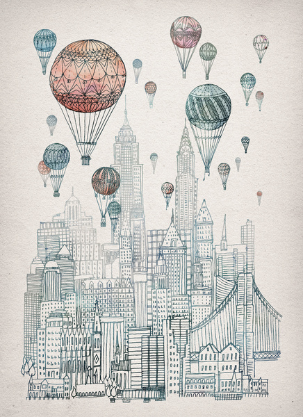 Poster / Voyages Over New York Art Print by David Fleck | Society6