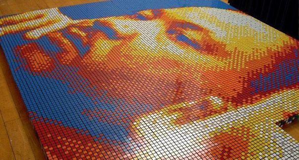 Dream Big: Portrait Made of 4,242 Rubik's Cubes | Bored Panda