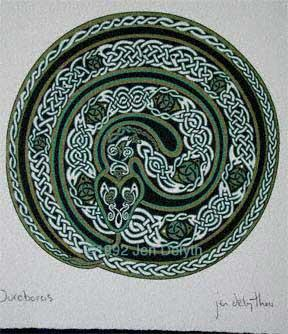 Earth Serpent - Ouroboros Celtic Art Print by Jen Delyth