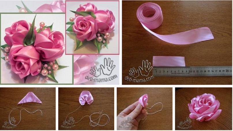 Как сделать розу своими руками из атласных лент