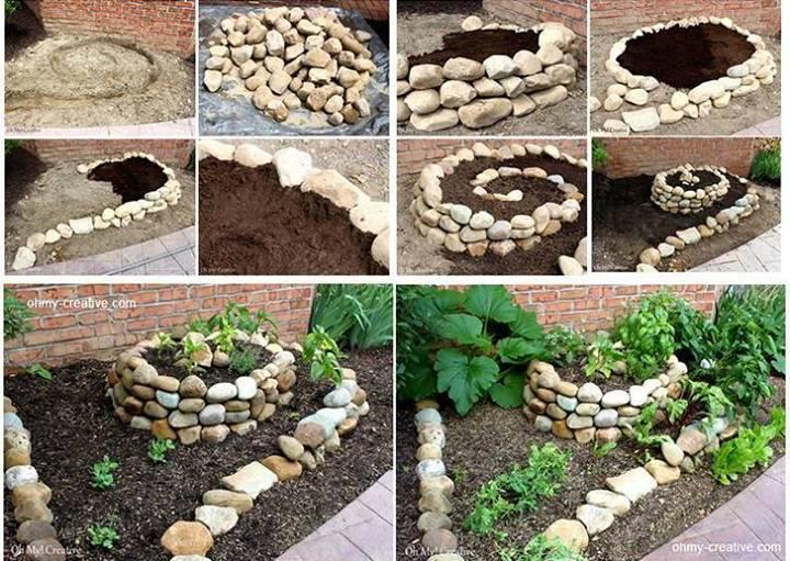 Как сделать  клумбу у дома из камней фото