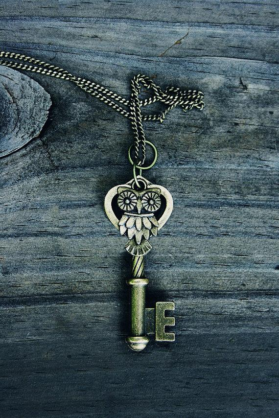 Owl Key Charm Necklace by MythicalFolk on Etsy