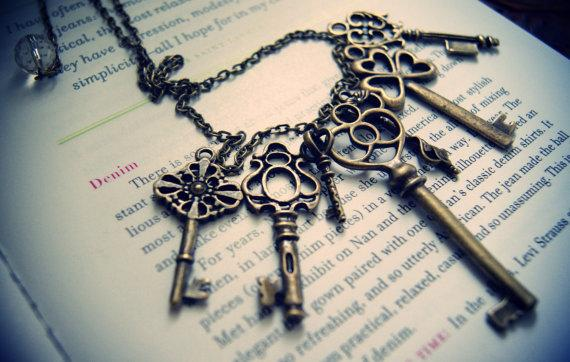 Vintage Key Necklace customize your own by carolinabenoit on Etsy