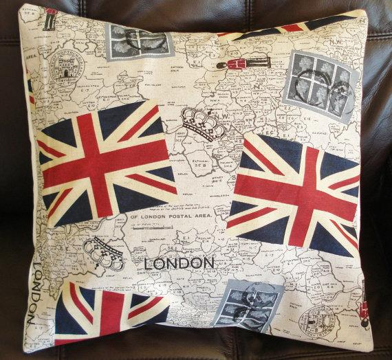 Throw Pillow London Union jack stamps Royal Mail by IconicPillows