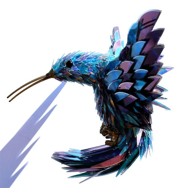 Animal Sculptures Made from Shattered CDs | Colossal