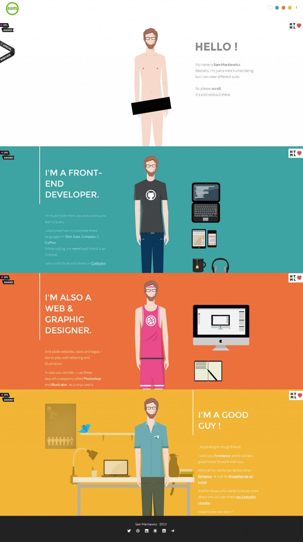 Sam Markiewicz – Flat UI Design Website on Inspirationde