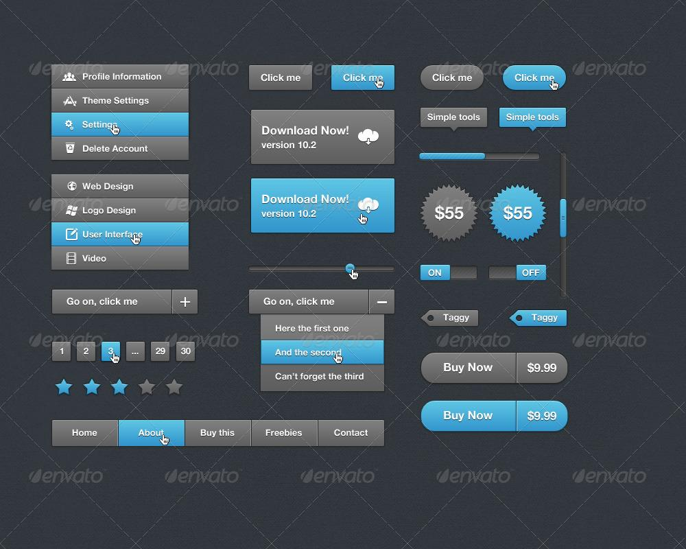 Dark UI Elements - GraphicRiver Previewer