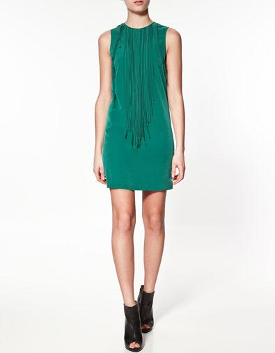 DRESS WITH FRINGING AT THE FRONT - Dresses - Woman - ZARA Poland