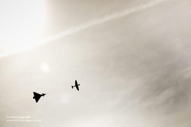 RAF Typhoon Jet Fighter Takes to the Skies with WWII Spitfire | Flickr - Fotosharing!
