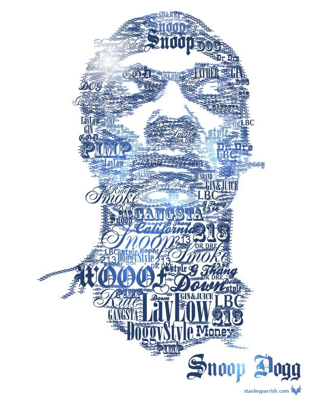 Snoop Dogg Typographic Portrait - Typography - Creattica