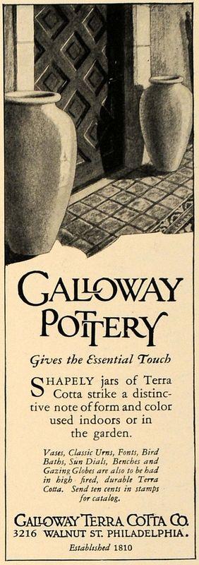 1928 Ad Galloway Terra Cotta Pottery Vases Philadelphia | eBay