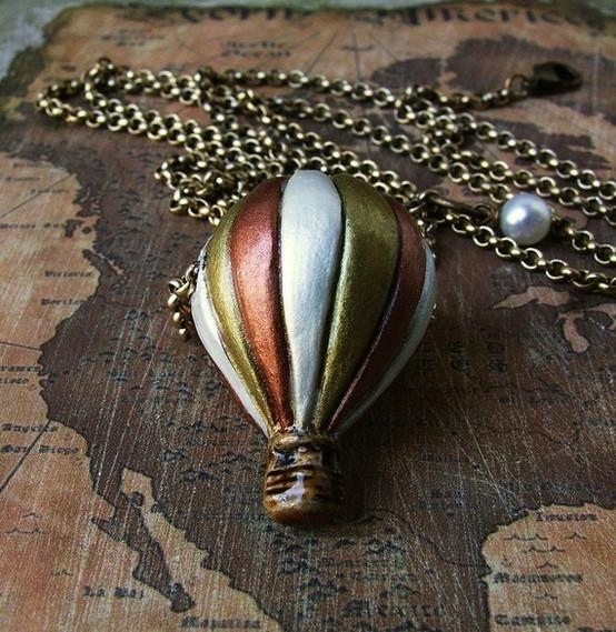 Jewelry / Vintage Voyage Hot Air Balloon Charm Necklace by heartworksbylori