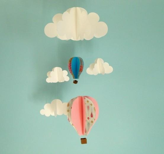 Fun Party Ideas / Floating in the Clouds 3D Mobile by goshandgolly on Etsy
