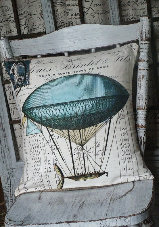 For the Home / Le BalloonVintage Hot Air Balloon Pillow Cover by JolieMarche