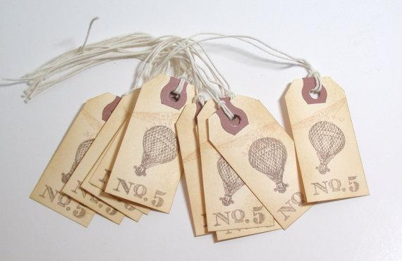 10 Gift TAGS No 5 Hot Balloon by PaulettesPapers on Etsy