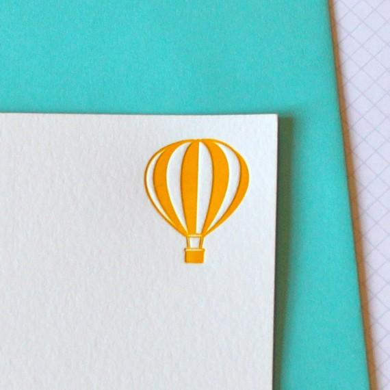letterpress hot air balloon notecards by weheartpaper on Etsy