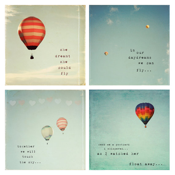 Hot Air Balloon daydreams whimsical set of 4 by SusannahTucker