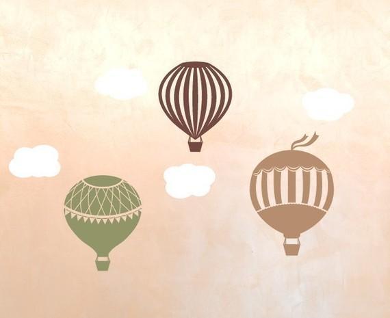 Victorian Hot Air Balloon Vinyl Wall Decal by tweetheartwallart
