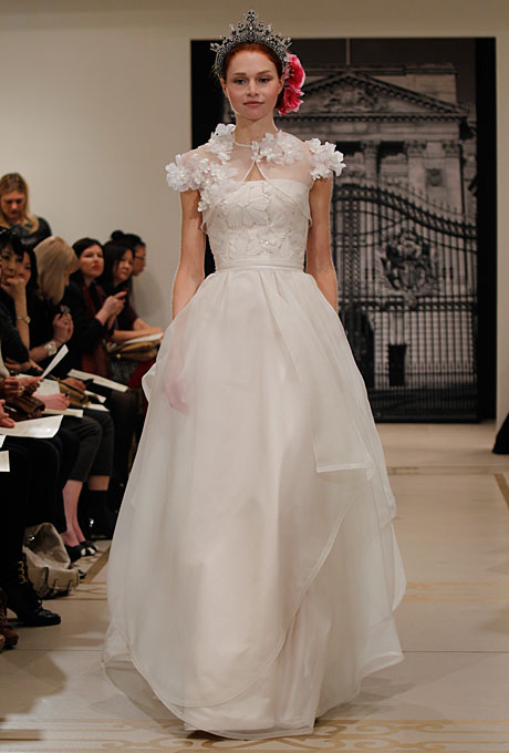 Reem Acra - Spring 2012 - Strapless Chiffon A-Line Wedding Dress with a Floral Bodice | Wedding Dresses Photos | Brides.com