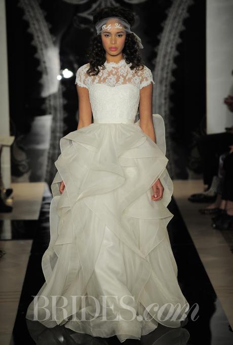 Reem Acra - Spring 2014 - Nissa Lace Gown with Cascade Organza Skirt | Wedding Dresses Photos | Brides.com