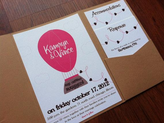 Hot Air Balloon Pocketfold Invite Self by NewBorrowedAndBlue
