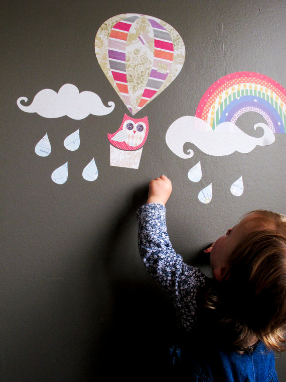 Up Up & Away decals reuseable fabric wall by tinchDesignStudio
