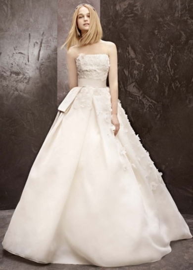 Basket Weave Organza Gown with Floral Detail - Wedding Dresses by White by Vera Wang - Loverly