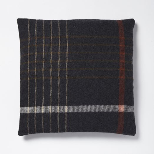 Faribault Grid Plaid Pillow Cover - Heather Shadow | West Elm