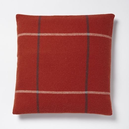 Faribault Large Windowpane Pillow Cover - Cayenne | West Elm
