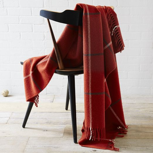 Faribault Large Windowpane Wool Throw - Cayenne | West Elm