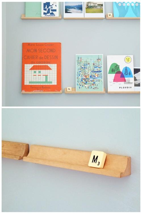 DIY / poppytalk: Cool Decorating Trick: Scrabble Shelves