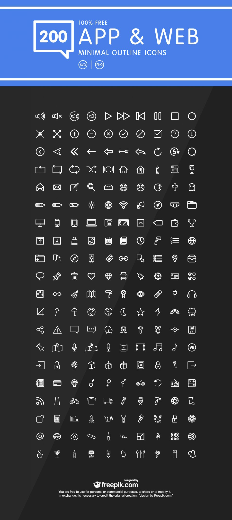 200 Minimal Outline Icons for Web & mobile App Design