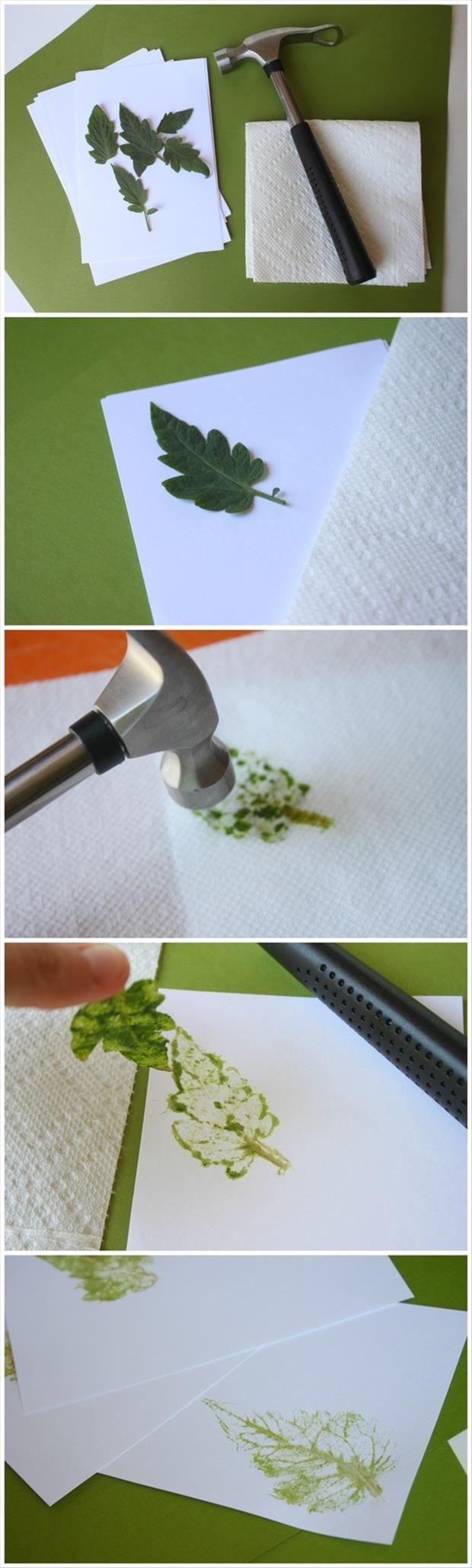 how to make a leaf print | Crafts for kids | Pinterest