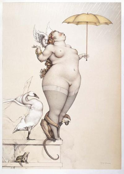 Curves / Thanks to everyone who helped me discover who the artist of this painting is. This piece is titled Rain and the artist is Michael Parkes