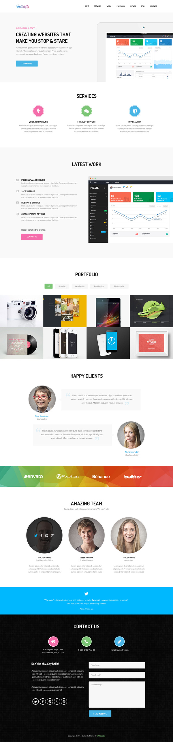 Butterfly – Free Bootstrap Theme | GraphicBurger