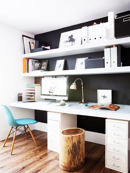 black and white office with white magazine files on Inspirationde