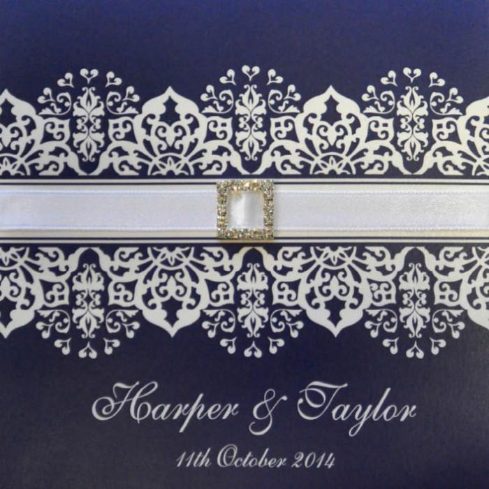 Layered New Dawn with Ribbon Square Vertical Invitation in Purple - Wedding Invitations