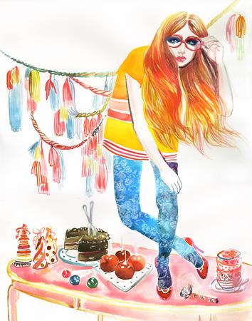Picture party-time « watercolor & ink — Samantha Hahn: Illustration + Surface Pattern