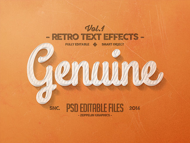 Retro Text Effects – Genuine on Inspirationde