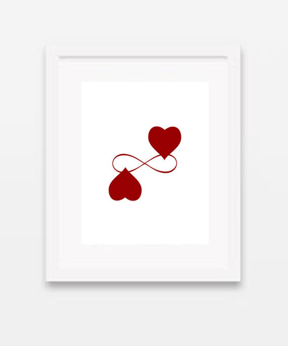 Infinity Love red heart valentines printable by gonulk on Etsy