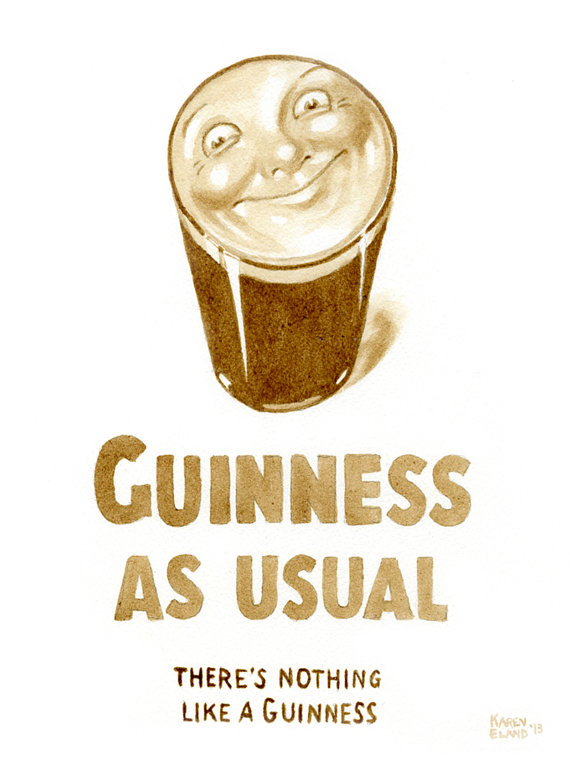 Vintage Guinness Smiling Pint Poster painted using by BeerPainter